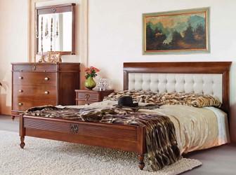 Кровать 160 с кожаным изголовьем