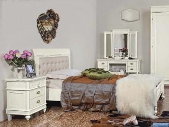 Кровать 120 с кожаным изголовьем