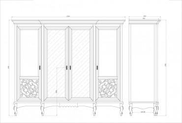 Шкаф 4 двери 2 зеркала