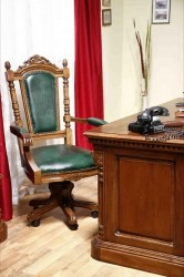 Вращающийся стул с подлокотниками (кожа)